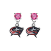 Columbus Blue Jackets PINK Swarovski Crystal Stud Rhinestone Earrings
