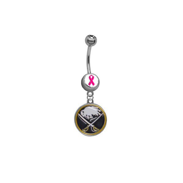Buffalo Sabres Breast Cancer Awareness NHL Hockey Belly Button Navel Ring