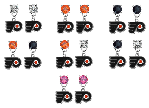 Philadelphia Flyers NHL Swarovski Crystal Stud Rhinestone Earrings
