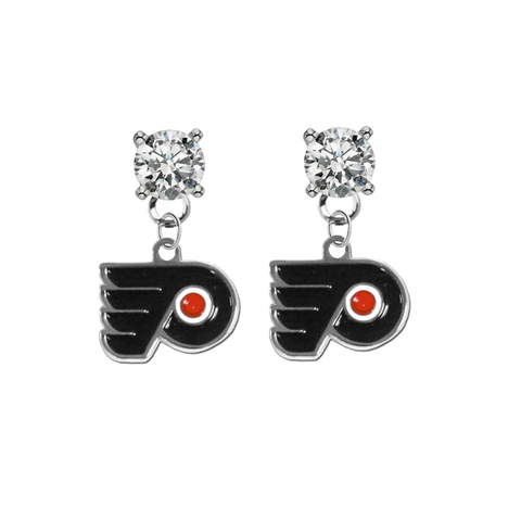 Philadelphia Flyers CLEAR Swarovski Crystal Stud Rhinestone Earrings