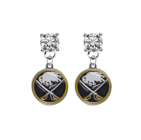 Buffalo Sabres CLEAR Swarovski Crystal Stud Rhinestone Earrings