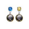 Buffalo Sabres BLUE & GOLD Swarovski Crystal Stud Rhinestone Earrings