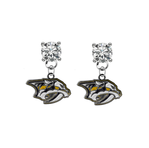 Nashville Predators CLEAR Swarovski Crystal Stud Rhinestone Earrings