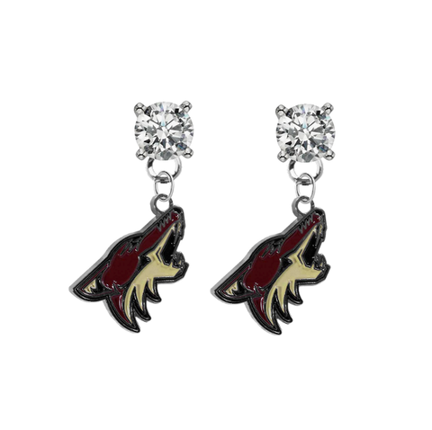 Phoenix Coyotes CLEAR Swarovski Crystal Stud Rhinestone Earrings