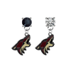 Phoenix Coyotes BLACK & CLEAR Swarovski Crystal Stud Rhinestone Earrings