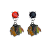 Chicago Blackhawks RED & BLACK Swarovski Crystal Stud Rhinestone Earrings