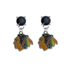 Chicago Blackhawks BLACK Swarovski Crystal Stud Rhinestone Earrings