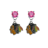 Chicago Blackhawks PINK Swarovski Crystal Stud Rhinestone Earrings