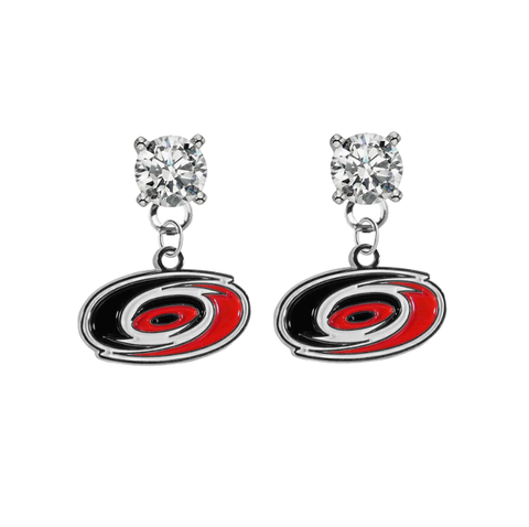 Carolina Hurricanes CLEAR Swarovski Crystal Stud Rhinestone Earrings