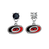 Carolina Hurricanes BLACK & CLEAR Swarovski Crystal Stud Rhinestone Earrings