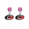 Carolina Hurricanes PINK Swarovski Crystal Stud Rhinestone Earrings