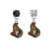 Ottawa Senators BLACK & CLEAR Swarovski Crystal Stud Rhinestone Earrings