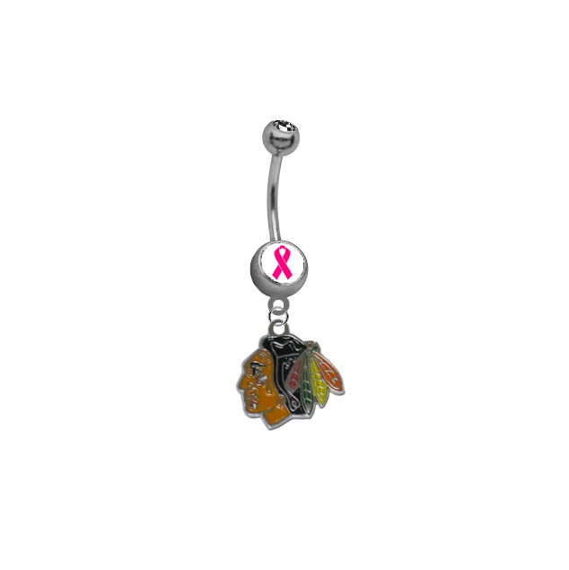 Chicago Blackhawks Breast Cancer Awareness NHL Hockey Belly Button Navel Ring