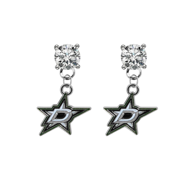 Dallas Stars CLEAR Swarovski Crystal Stud Rhinestone Earrings