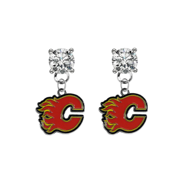 Calgary Flames CLEAR Swarovski Crystal Stud Rhinestone Earrings