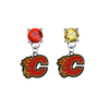Calgary Flames RED & GOLD Swarovski Crystal Stud Rhinestone Earrings