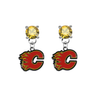 Calgary Flames GOLD Swarovski Crystal Stud Rhinestone Earrings