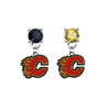 Calgary Flames BLACK & GOLD Swarovski Crystal Stud Rhinestone Earrings