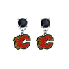 Calgary Flames BLACK Swarovski Crystal Stud Rhinestone Earrings