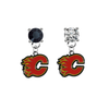 Calgary Flames BLACK & CLEAR Swarovski Crystal Stud Rhinestone Earrings