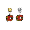 Calgary Flames GOLD & CLEAR Swarovski Crystal Stud Rhinestone Earrings