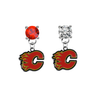 Calgary Flames RED & CLEAR Swarovski Crystal Stud Rhinestone Earrings