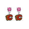 Calgary Flames PINK Swarovski Crystal Stud Rhinestone Earrings