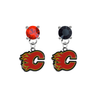 Calgary Flames RED & BLACK Swarovski Crystal Stud Rhinestone Earrings