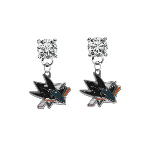 San Jose Sharks CLEAR Swarovski Crystal Stud Rhinestone Earrings