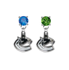Vancouver Canucks BLUE & GREEN Swarovski Crystal Stud Rhinestone Earrings