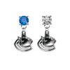 Vancouver Canucks BLUE & CLEAR Swarovski Crystal Stud Rhinestone Earrings