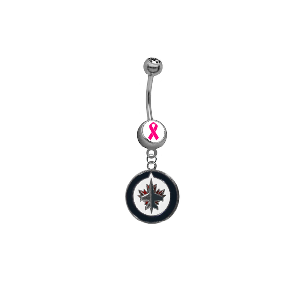 Winnipeg Jets Breast Cancer Awareness NHL Hockey Belly Button Navel Ring