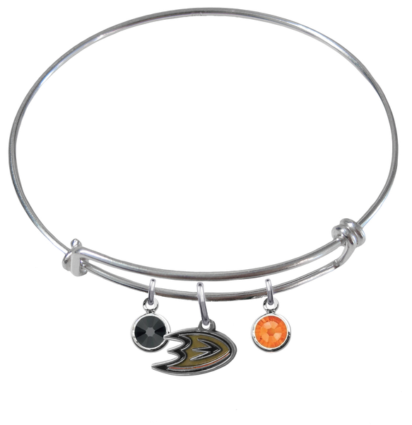 Anaheim Ducks NHL Expandable Wire Bangle Charm Bracelet