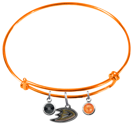 Anaheim Ducks Color Edition ORANGE Expandable Wire Bangle Charm Bracelet