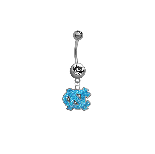 North Carolina Tar Heels Glitter Logo NCAA College Belly Button Navel Ring