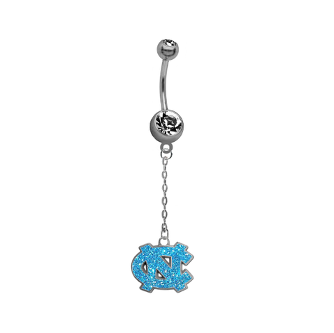 North Carolina Tar Heels Glitter Logo Dangle Chain Belly Button Navel Ring