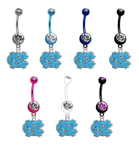 North Carolina Tar Heels Glitter Logo NCAA College Belly Button Navel Ring - Pick Your Color