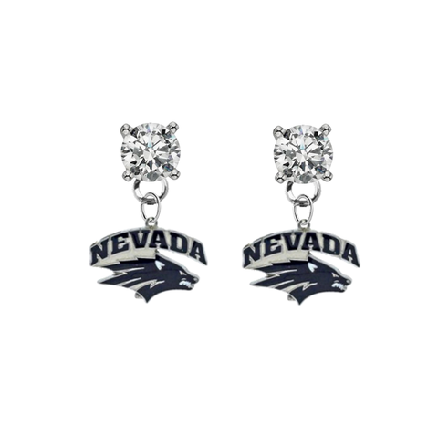 Nevada Wolf Pack CLEAR Swarovski Crystal Stud Rhinestone Earrings