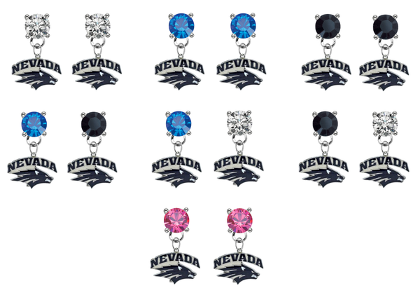 Nevada Wolf Pack NCAA Swarovski Crystal Stud Rhinestone Earrings