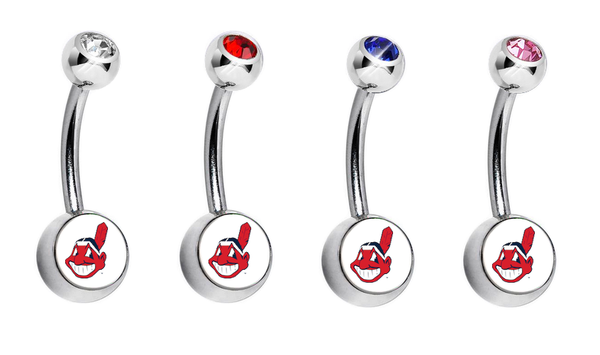 Cleveland Indians Swarovski Crystal Classic Style MLB Belly Ring