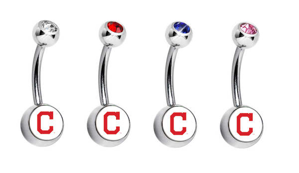 Cleveland Indians C Logo Swarovski Crystal Classic Style MLB Belly Ring