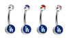 Los Angeles Dodgers Swarovski Crystal Classic Style MLB Belly Ring