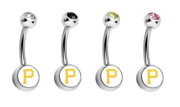 Pittsburgh Pirates Swarovski Crystal Classic Style MLB Belly Ring