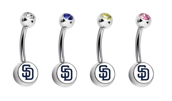 San Diego Padres Swarovski Crystal Classic Style MLB Belly Ring