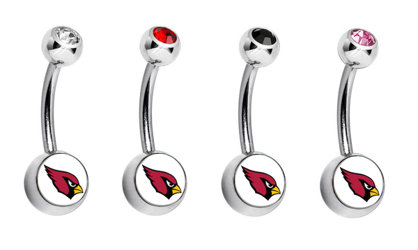 Arizona Cardinals Swarovski Crystal Classic Style NFL Belly Ring