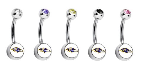 Baltimore Ravens Swarovski Crystal Classic Style NFL Belly Ring