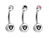 Oakland Raiders Swarovski Crystal Classic Style NFL Belly Ring