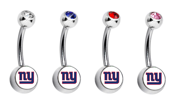 New York Giants Swarovski Crystal Classic Style NFL Belly Ring