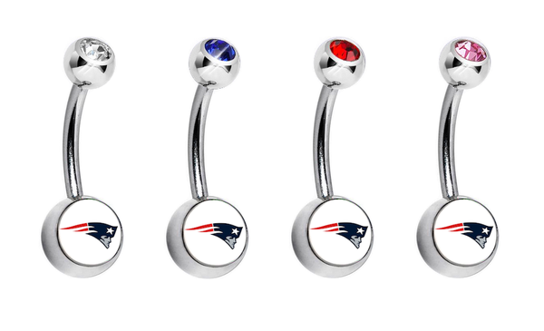 New England Patriots Swarovski Crystal Classic Style NFL Belly Ring