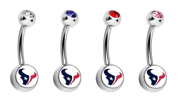 Houston Texans Swarovski Crystal Classic Style NFL Belly Ring